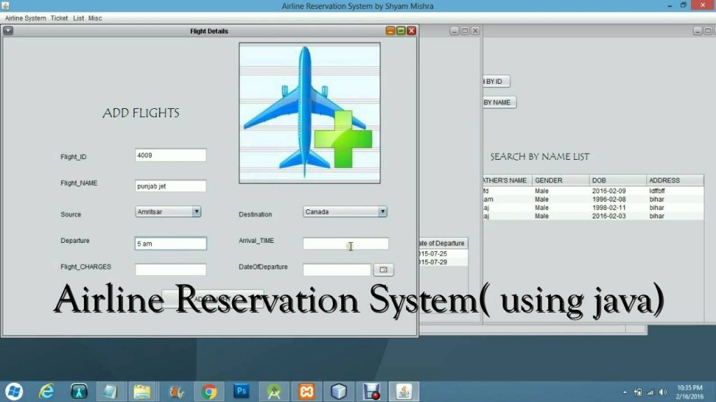 JAVA based Airline Reservation System